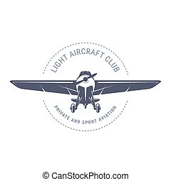 Light aviation emblem with biplane , vintage airplane icon...