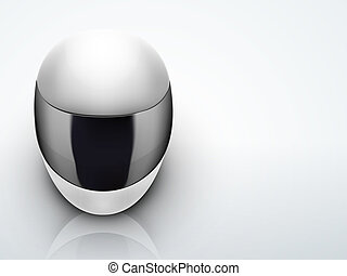 Light Background High quality white motorcycle helmet.