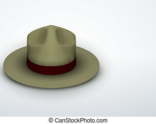 Light background Ranger hat khaki green color. Symbol of protection and order. Editable Vector Illustration.