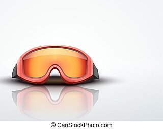 Light Background red ski goggles. vector illustration