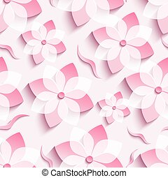Light background seamless pattern with pink sakura