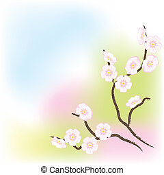 Light background with flowering branch of the old apple tree.