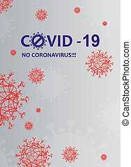 Light background with red abstract silhouette of coronavirus...