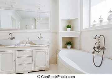 Light bathroom with two sinks and big mirror