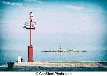 Light beacon on small island, Porec, analog filter