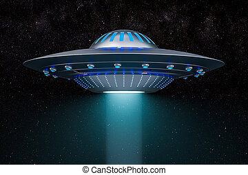 Light beam from flying UFO in space. 3D rendering