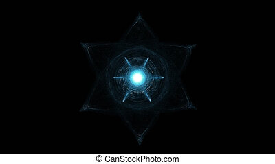 Light Beams Moving Around Glowing Hexagram. Esoterica,...