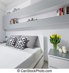 Light bedroom with double bed