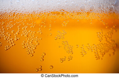 Light beer background close up with foan