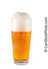 Light beer in glass isolated on white background. Clipping path.