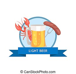 Light Beer Logo Glass of Beer with Foam and Bubble