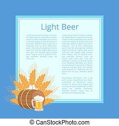 Light Beer Poster Depicting Mug, Barrel and Ears