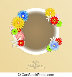 light beige design with round frame and flowers