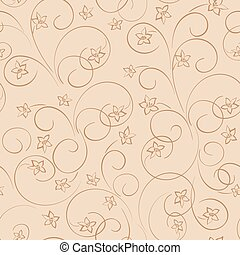 light beige floral background - vector seamless pattern with flowers