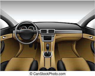 Light beige leather car interior - Dashboard - beige car...