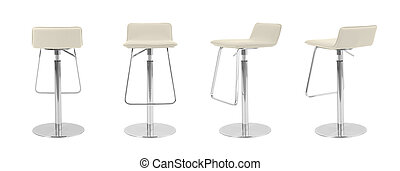 Light Beige leather Swivel bar Stool on white background