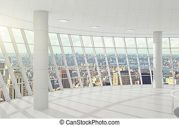 Light big office with windows in floor