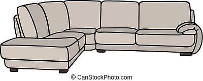 Light big sofa - Hand drawing of a light big comfortable...