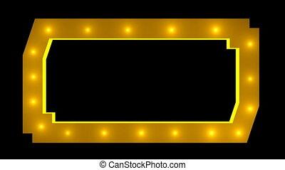 Light blinking border frame. Seamless loop