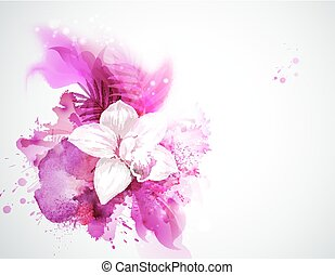 light blooming orchid and palm leaves on the abstract background