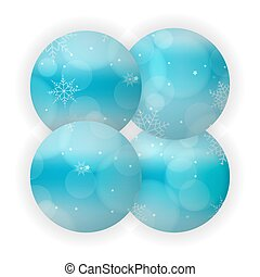 Light blue abstract Christmas background with white snowflakes in a circle. Decoration for New Year's invitations, greetings, cards
