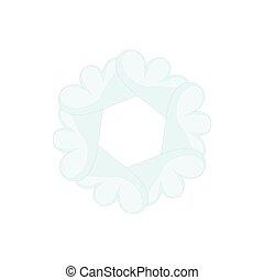 Light blue abstract circle icon, cartoon style