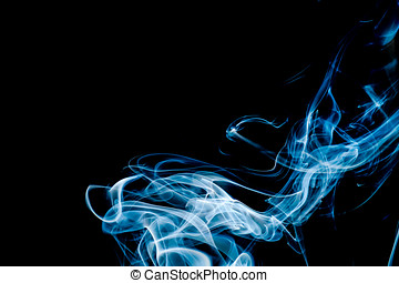 Light Blue  Abstract Smoke on Black Background