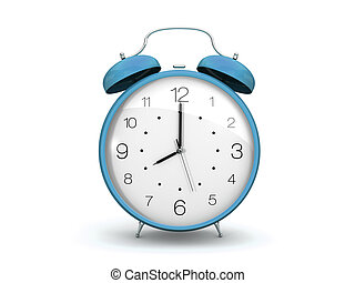 light blue alarm clock - 3d render of a blue alarm clock. ...