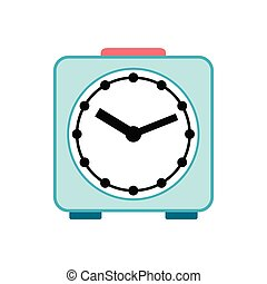 Light blue alarm clock icon, flat style