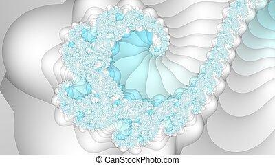 Light blue and white fractal spiral background