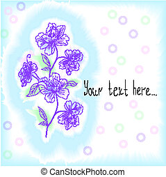 light blue background with rich hand-drawn flowers