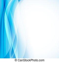 light blue background with transparent folding waves vertical border. vector