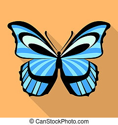 Light blue butterfly icon, flat style