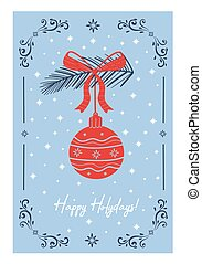 Light blue card with a Christmas toy. Vector illustration.