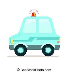 Light blue cartoon police car vector Illustration