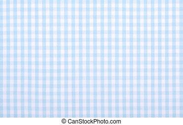 light blue checkered fabric closeup , tablecloth texture