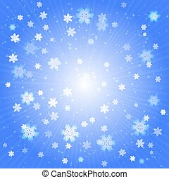 Light blue Christmas abstract background with snowflakes.