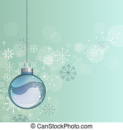 Light blue Christmas background with hanging ball