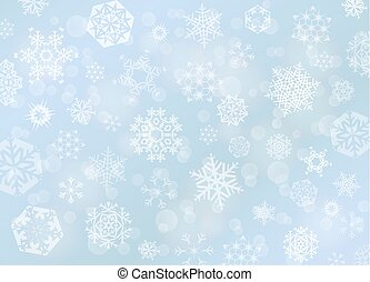 Light blue Christmas background with white snowflakes