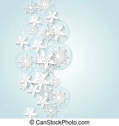 Light blue Christmas background with winter flowers and snowflakes