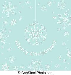 light blue christmas card - vector