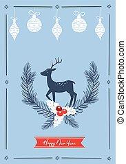 Light blue Christmas card with a deer. Vector illustration.