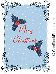 Light blue Christmas card with a white frame. Vector illustration.