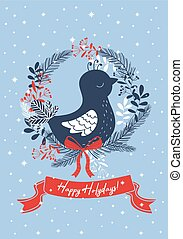 Light blue christmas card with bird. Vector illustration.