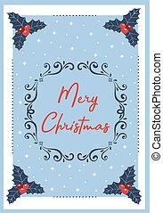 Light blue christmas card with white frame. Vector illustration.