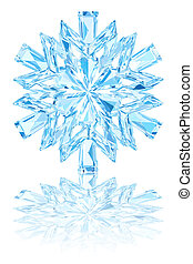Light blue crystal snowflake on glossy white background