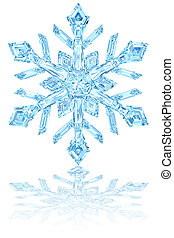 Light blue crystal snowflake on glossy white background. ...