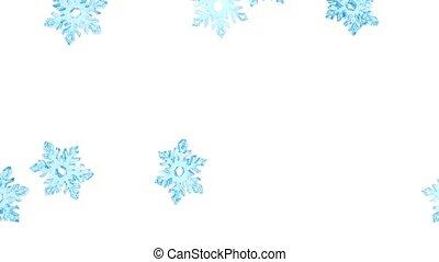 Light blue crystal snowflakes fall