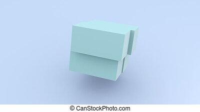 Light blue cube rotating 3d footage