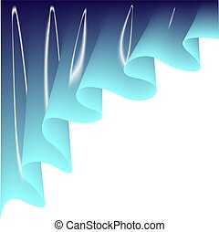 Light blue curtain. Drape silk texture on white background. ...